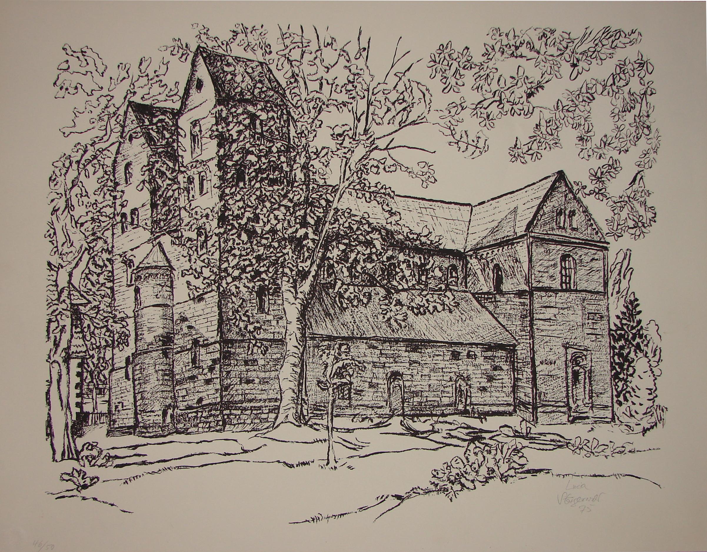 Klosterkirche Fredelsloh (Südseite), Bleistiftzeichnung, Lucia Steigerwald, 1975