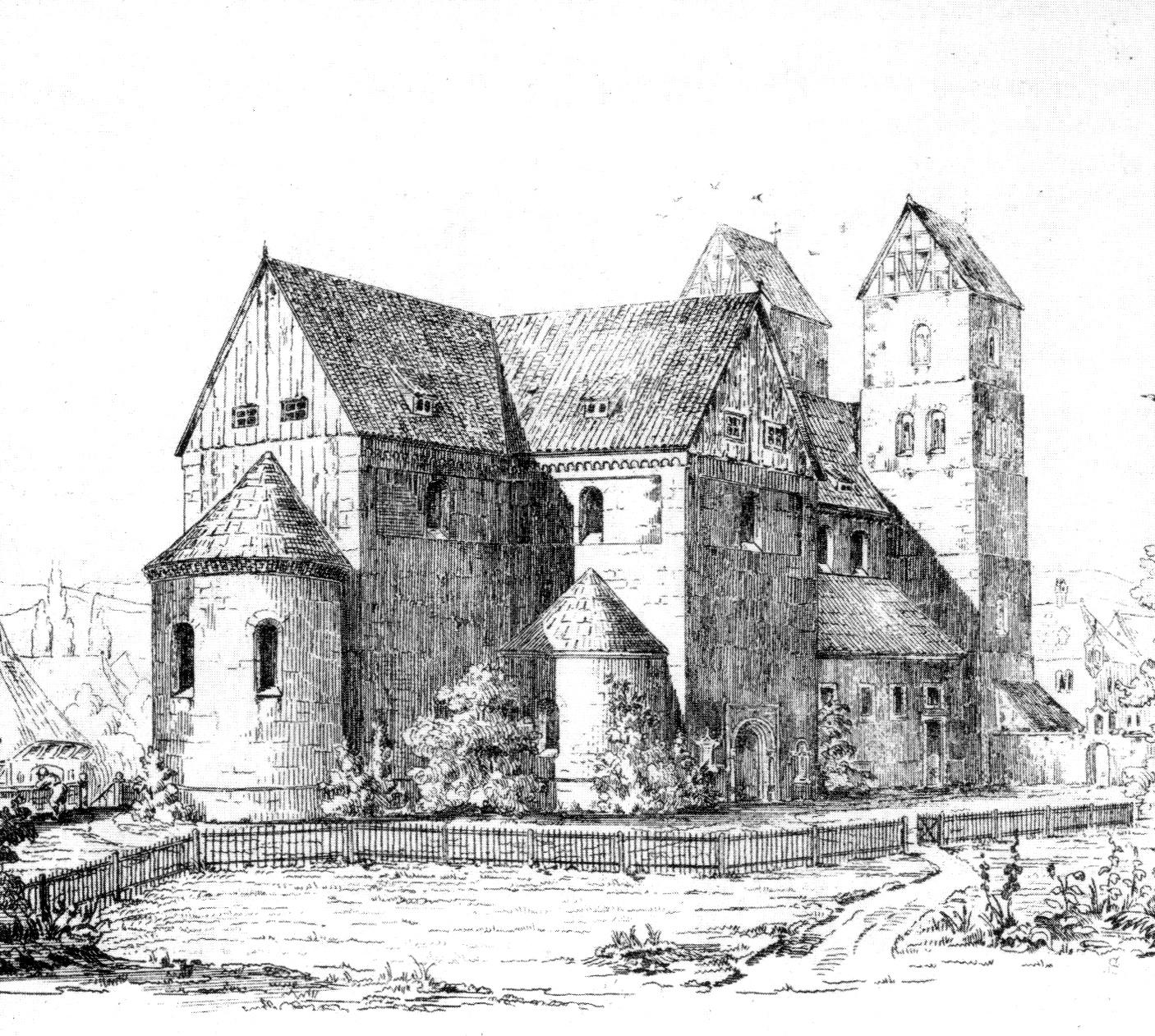 St. Blasii und Marien (Nordseite), Stich von Conrad Wilhelm Hase, 1882