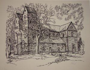 Klosterkirche Fredelsloh, Bleistiftzeichnung, Lucia Steigerwald, 1975